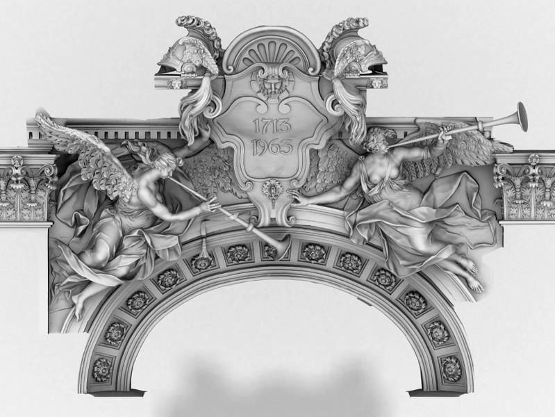 Scansione e stampa dell'arco di Liebknecht, Germania